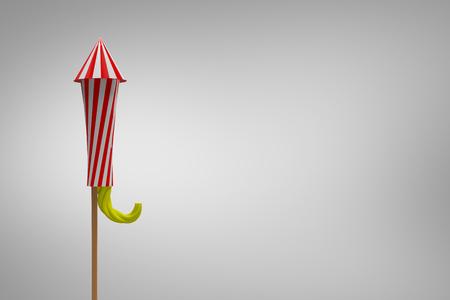 Rocket for fireworks against grey vignette