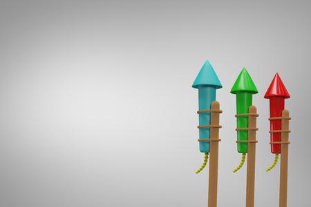Rockets for fireworks against grey vignette