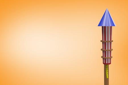artifice: Rocket for fireworks against orange vignette Stock Photo