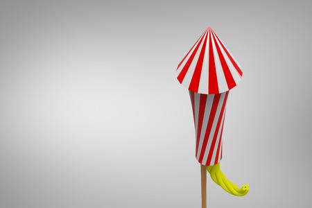 artifice: Rocket for fireworks against grey vignette