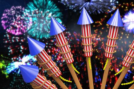 Rockets for fireworks against colourful fireworks exploding on black background Stock Photo