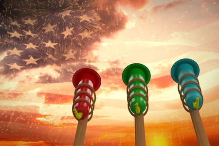 artifice: Rockets for fireworks against digitally generated american flag waving