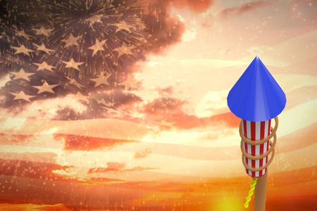artifice: Rocket for firework against digitally generated american flag waving