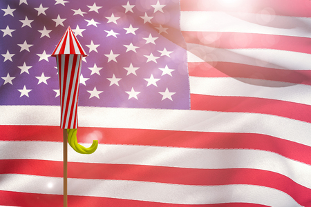 artifice: Rocket for fireworks against close-up of american flag Stock Photo