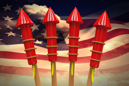 artifice: Rockets for fireworks against composite image of digitally generated american flag rippling
