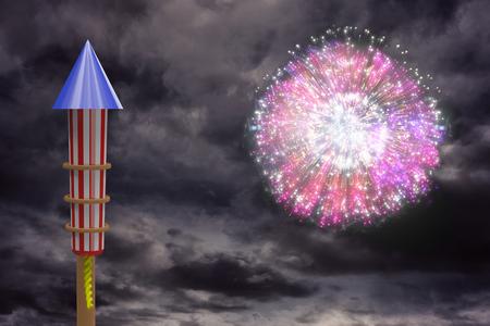 artifice: Rocket for fireworks against colourful fireworks exploding on black background