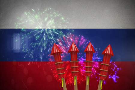 artifice: Rockets for fireworks against colourful fireworks exploding on black background Stock Photo