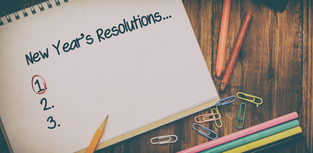 new years resolution: New years resolution list against composite image of white background with vignette
