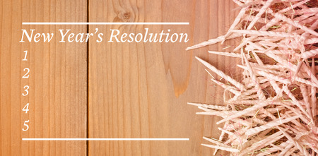 new years resolution: Composite image of new years resolution list against wooden wall
