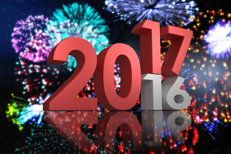 old and new: Digital image of new over old year against colourful fireworks exploding on black background Stock Photo