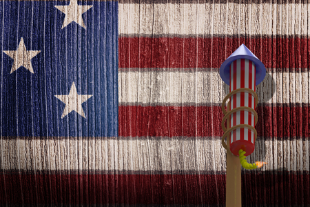artifice: Rocket for fireworks against composite image of usa national flag Stock Photo