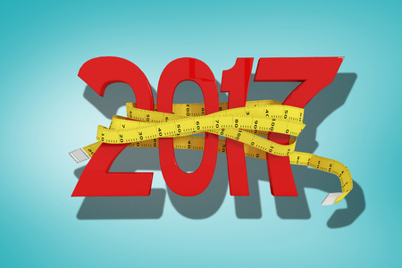 digitally generated image: Digitally generated image of new year with tape measure against blue vignette background