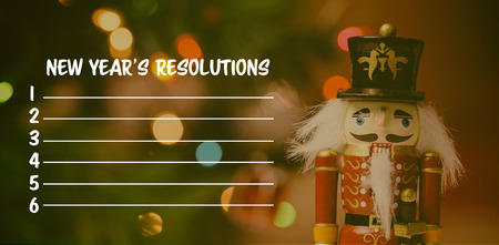 Composite image of new years resolution and wooden toy Stock Photo