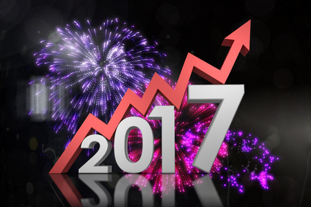 digitally generated image: Digitally generated image of number with arrow against colourful fireworks exploding on black background Stock Photo