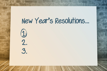 new years resolution: New years resolution list against composite image of white card