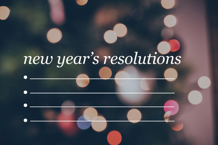 new years resolution: Composite image of new years resolution list and light ornament