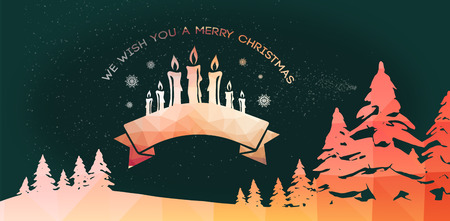 Graphic christmas message with candles against graphic of flying santa with sleigh