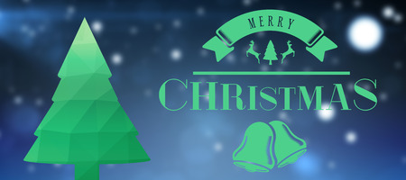 digitally generated image: Merry christmas message against digitally generated image of christmas tree