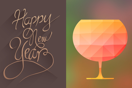 animated glass with mosaic against white background against classy new year greeting Stock Photo