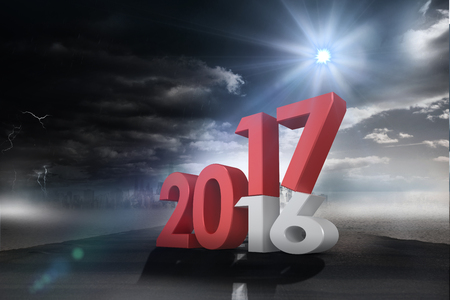 old and new: Digitally generated image of new over old year against open road Stock Photo