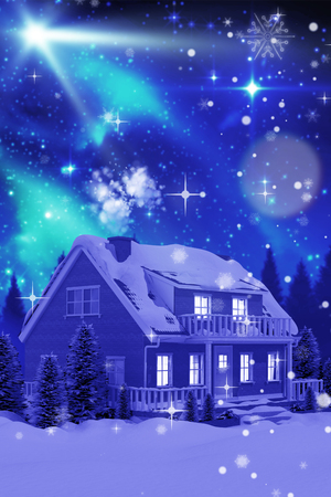Illuminated turquoise house covered in snow against aurora shimmering over forest at night Stock Photo