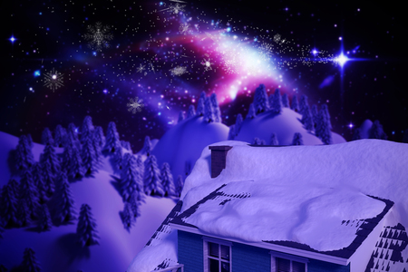 snowcapped: Snow covered roof of house against trees on snow covered mountain with aurora borealis