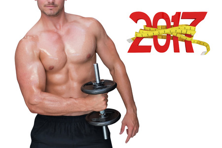 digitally generated image: Bodybuilder lifting dumbbell against digitally generated image of new year with tape measure