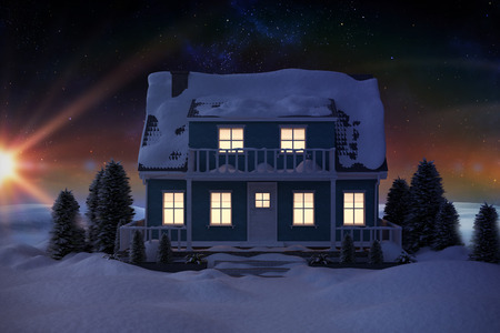 snow scape: Illuminated house covered in snow against digitally generated snowy land scape
