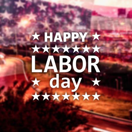 estrella de la vida: Poster of happy labor day text against illuminated city street against cityscape Foto de archivo