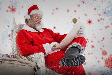 wish  list: Santa Claus reading wish list on scroll against white background against snowflake pattern