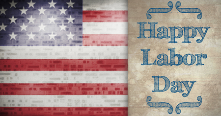 floorboards: Poster of happy labor day text against parchment