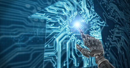 Back robot arm pointing at something against house shapeon  circuit board Stock Photo