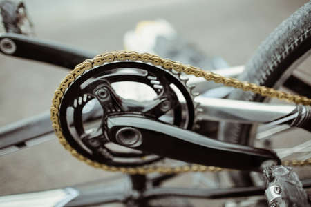Close-up of BMX bike chain wheel LANG_EVOIMAGES