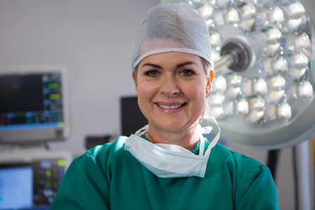 Portrait of female surgeon in operation theater