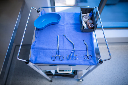 surgical tray: Surgical instrument kept on a table in opration room at hospital