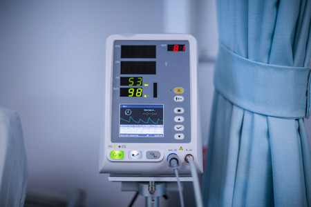 heart rate: Close-up of heart rate monitor in hospital