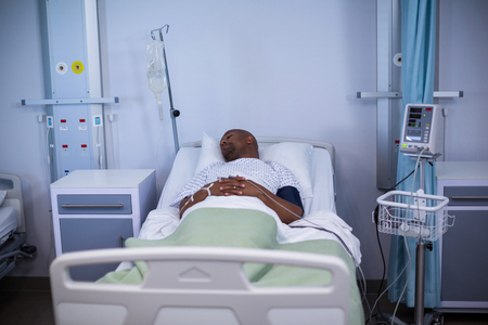 hospital patient: Male patient resting in ward of hospital