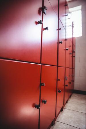 Close-up of lockers in locker room