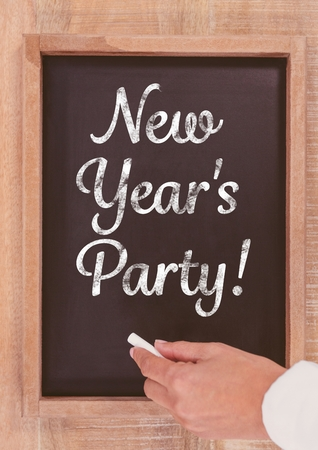 new year party: Close-up of New year party text on blackboard