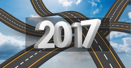 2017 on composite image 3D of over lapping roads in sky Stock Photo