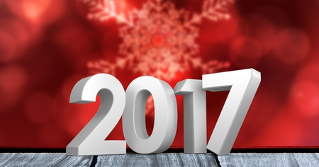 2017 on wooden plank against a composite image 3D of digitally generated red background