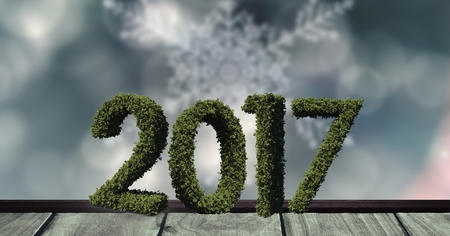 2017 in grass on wooden plank against a composite image 3D of digitally generated dark background