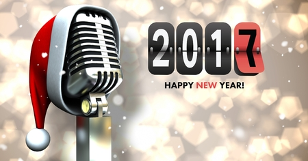 hat new year s eve: Composite image 3D of 2017 new year sign and santa hat on microphone against bokeh lights Stock Photo