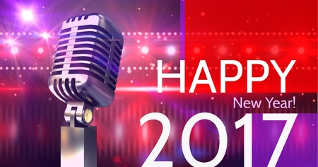 Digitally composite image 3D of 2017 new year greeting and microphone against disco lights