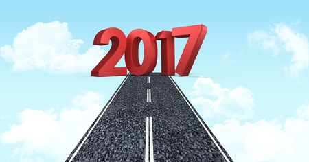 2017 new year sign against composite image 3D of road in blue sky