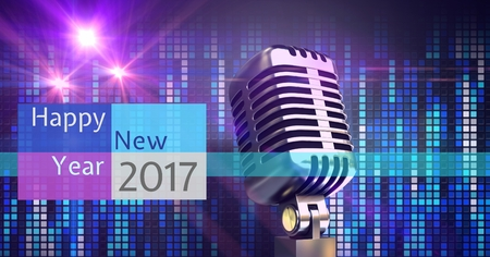 Digitally composite image 3D of 2017 new year greeting and microphone against abstract mosaic light
