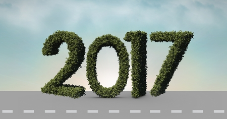 2017 made of green grass on composite image 3D of road in sky