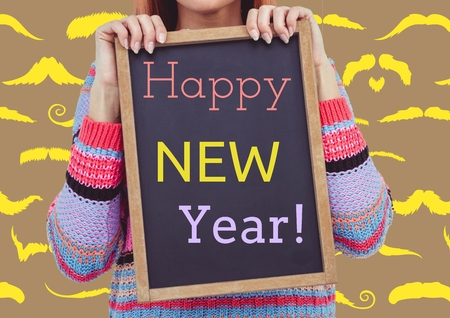 mustaches: Mid section of woman holding slate with a message of happy new year against digitally background