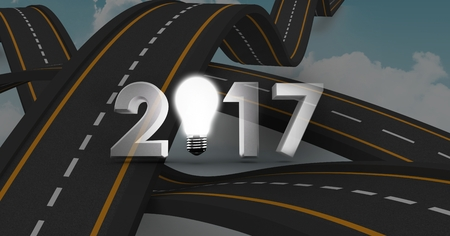 bumpy: 2017 text containing light bulb against a composite image 3D of overlapping bumpy roads Stock Photo