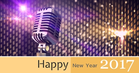 old fashioned: Composite image 3D of 2017 new year and microphone against disco lights Stock Photo